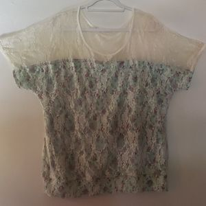 Maurices Floral on Mint & Lace Short Sleeve Shirt